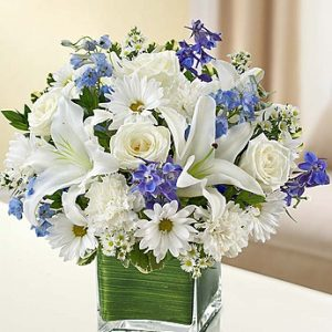 Blue and White Healing Tears arrangement by Thomas Florist