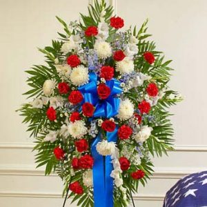 Deepest Sympathy Standing Spray- Red/White/Blue